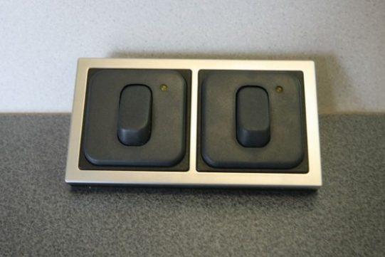 Flatline Silver Double Frame 2 x 240v Sockets 2 x Socket Backs