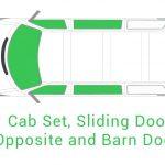 Cab Set Sliding Door Opposite and Barn Doors