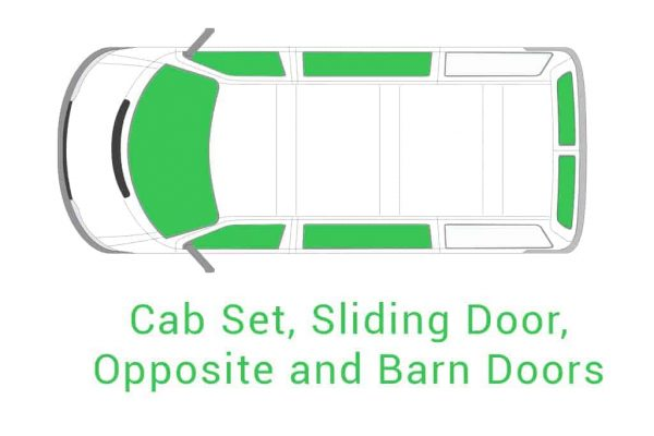 Cab Set Sliding Door Opposite and Barn Doors