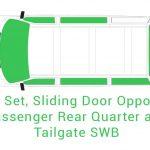 Cab Set Sliding Opposite Passenger Rear Quarter and Tailgate SWB
