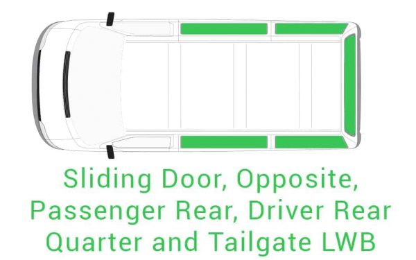 Sliding Opposite Passenger Driver Rear Quarter and Tailgate LWB