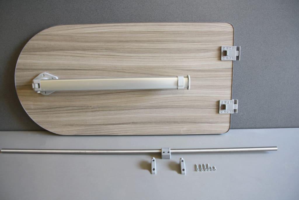 Adjustable Leg 800 x 400mm Curve Stripewood Campervan//Motorhome Table /& Rail