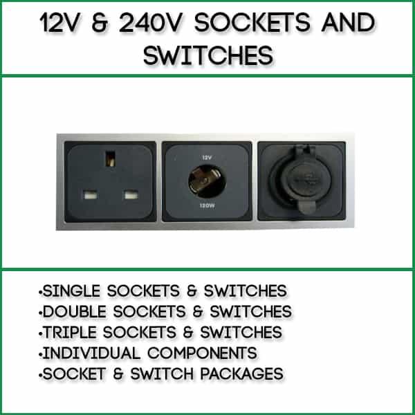 Single 12v Socket Graphite Grey Double and Single Surround Support Frames 2 x 240v Sockets