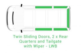 Twin Sliding 2 x Rear Quarter and Tailgate with Wiper LWB 1
