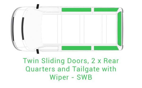 Twin Sliding 2 x Rear Quarter and Tailgate with Wiper SWB 1