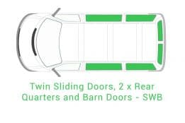 Twin Sliding Door 2 x Rear Quarter and Barn Doors SWB 1
