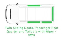 Twin Sliding Doors Passenger Rear Quarter and Tailgate with Wiper SWB 1