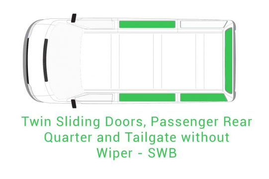 Twin Sliding Doors Passenger Rear Quarter and Tailgate without Wiper SWB 1