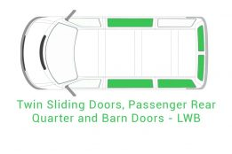 Twin Sliding Passenger Rear Quarter and Barn Doors LWB 1