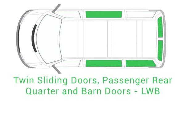 Twin Sliding Passenger Rear Quarter and Barn Doors LWB 1