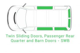 Twin Sliding Passenger Rear Quarter and Barn Doors SWB 1